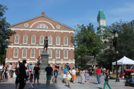 Faneuil Hall, the open forum place where independendists planned the rebellion.