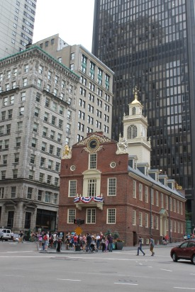 Old State House, where the independence declaration was read for the first time in Boston.