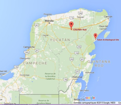 Chichen Itza / Tulum Map