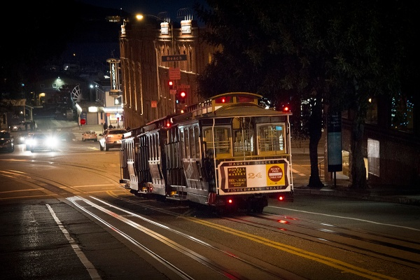 Cable car in the night San Francisco
