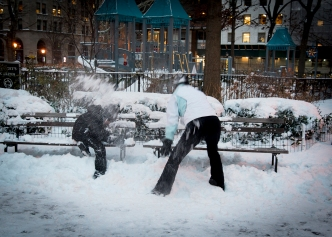Snow battle in Madison Square Park